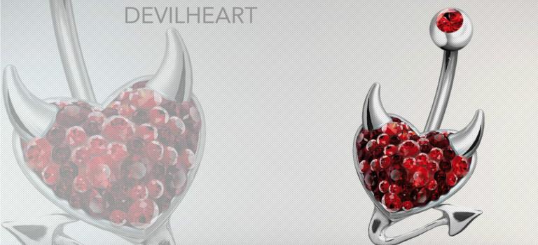 Piercing nombril cœur de diable en Swarovski noir