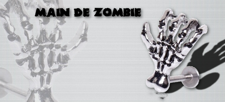 Piercing labret décalé Main de Zombie